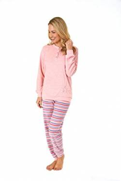 Normann Germany Damen Frottee Pyjama, Knopfleiste, Hose in Ringel-Optik, Rose, 63869, Gr. M 40/42 von Normann Germany