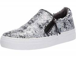 Not Rated Womens Tim Reversible Sequins Zipper Slide On Sneakers von Not Rated
