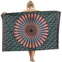 Nuofengkudu Frau Sarong Rock Hippie Floral Bedruckte Bikini Cover up Strandkleid Lange Wrap Urlaub Party Strand Outfits Strandtuch von Nuofengkudu