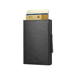 Ögon Smart Wallets - Cascade Wallet - RFID Protection : Protects Your Cards from Stealing - Up to 8 Cards + receits + Notes - Anodised Aluminium & Leather (Veganes Leder Traforato Schwarz Alu Schwarz) von ÖGON Smart Wallets