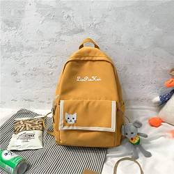 Schultasche High School Netter Campus Mittelschüler Junior High School Schüler Großraum Rucksack Rucksack 40cm * 29cm * 12,5cm Gelb + Anhänger von OLOEY