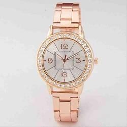 OLUYNG Armbanduhr Damenmode Diamond Square Digital Surface Stahlgürtel Quarzuhr Rose Gold von OLUYNG