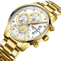 OLUYNG Armbanduhr Gold Watch Herren   Military Sport Quarzuhr Herren Automatic Date Business, B von OLUYNG