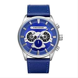 OLUYNG Armbanduhr Mode Persönlichkeit Herren Business Freizeit Multifunktionsgürtel Uhr Blue-Faced Blue Leather von OLUYNG