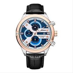 OLUYNG Armbanduhr Persönlichkeit Uhr Business Casual Multifunktionsgürtel Uhr Quarzuhr Inter-Rose White-Faced Black Leather von OLUYNG