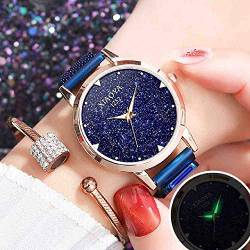 OLUYNG Armbanduhr Quarz Damen Rose Gold Clock Fashion Blue Sternenhimmel Magnetic Mesh Frauen Uhren Flash Bright Clock von OLUYNG