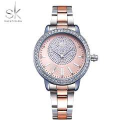 OLUYNG Armbanduhr Rose Gold Watch Frauen Quarzuhren Damen Crystal Luxury Female Wrist Watch Girl Clock von OLUYNG