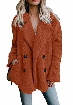 OMZIN Damen Herbst Winter Mäntel Frauen Warme Warme Faux Revers Pelzmantel Samt Teddy Fleece Elegant Casual Täglichen Party Parka Karamellfarbe M von OMZIN