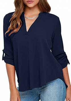 OMZIN Damen Shirt 3/4 Arm Lockere Tops Basic Shirt V Ausschnitt Blusen Navy blau 2XL von OMZIN