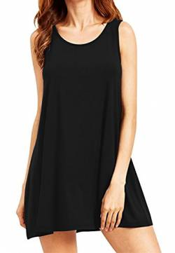 OMZIN Damen Casual Kleid Basic Minikleid Strandkleid Tank Top Kleid Trägershirt Tunikakleid Schwarz L von OMZIN