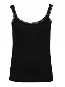 ONLY Carmakoma Womens CARMILO LACE S/L Tank TOP T-Shirt, Black, M-46/48 von ONLY Carmakoma