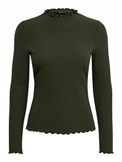 ONLY Damen ONLEMMA L/S HIGH Neck TOP NOOS JRS Langarmshirt, Grün (Forest Night Forest Night), Large (Herstellergröße:L) von ONLY