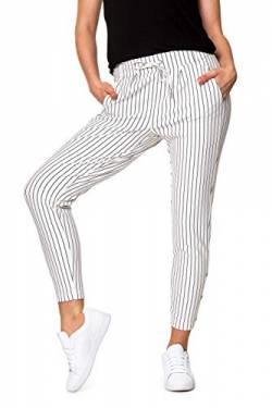 ONLY NOS Damen Onlpoptrash Easy Rush Stripe PNT Noos Hose, Mehrfarbig (Cloud Dancer Stripes:Black), W/L32(Herstellergröße:XS) von ONLY NOS