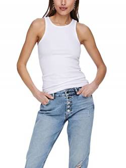 ONLY Damen ONLKENYA Life Rib Tank JRS NOOS Top, White, L von ONLY