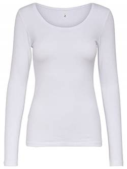 ONLY Damen Onllive Love Life L/S Oneck TOP NOOS JRS T-Shirt, Weiß, M von ONLY
