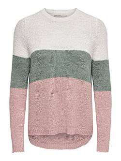 ONLY Damen onlGEENA L/S Block KNT NOOS Pullover, Mehrfarbig (Cloud Dancer Stripes: W. Chinois Green/Rose), 40 (Herstellergröße: L) von ONLY
