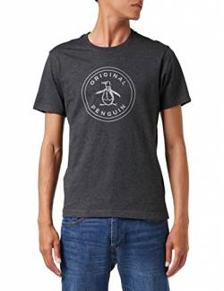 ORIGINAL PENGUIN Herren Stamp Logo T-Shirt, Grau (Dark Charcoal), M von ORIGINAL PENGUIN