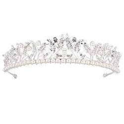 Alloy Pearl Leaf Crown Strass Crown Bridal Headdress Haarschmuck, Silber von OSALADI