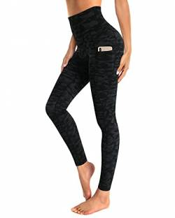 OUGES Damen Sport Leggings High Waist Leggins Yogahose Blickdichte Sporthose mit Taschen (Schwarze Tarnfarbe,XL) von OUGES