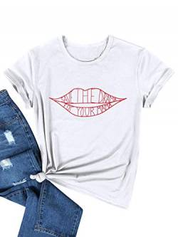 OUNAR Damen T Shirt Klassisch Tops Save The Drama for Your Mama Letter Print Oberteile Kurzarm Casual Solid Noos Bluse Sommer Tees von OUNAR