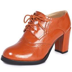 Odema Women Brogue Pumps Wingtip Lace-Up High Heel Oxfords Shoes Ankle Boots Brown von Odema