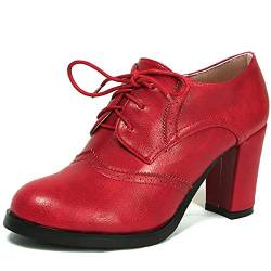 Odema Women Brogue Pumps Wingtip Lace-Up High Heel Oxfords Shoes Ankle Boots Red von Odema