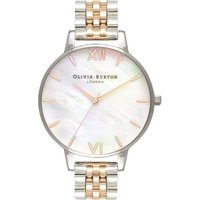Olivia Burton Mother Of Pearl Bracelet Mother Of Pearl Bracelet Silver & Rose Gold And Silver Damenuhr in Zweifarbig OB16MOP06 von Olivia Burton