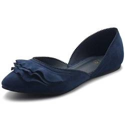 Ollio Damen Schuhe Faux Wildleder Slip On Scallped Kragen Spitz Toe Ballett Flats, Blau (navy), 38.5 EU von Ollio