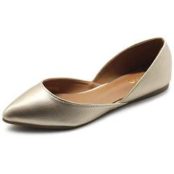 Ollio Damen Schuhe Kunstleder Slip On Comfort Light Pointed Toe Ballerinas F113, Gold (gold), 38.5 EU von Ollio