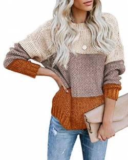 Onsoyours Damen Casual Pullover Langarm Sweater Einfach Warm Chic Strick Bluse Tops Herbst Winter Gr. 38, C Orange von Onsoyours