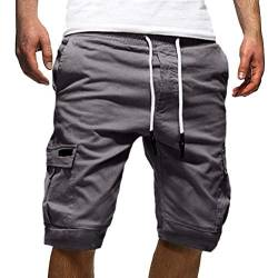 Onsoyours Herren Cargo Hose Shorts Sommer Bermuda Kurze Hose Chino Jogger Hose M Grau Small von Onsoyours