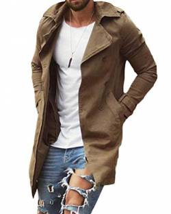 Onsoyours Herren Trenchcoat Slim Fit Zweireihiger Mantel im Militärischen Stil Windbreaker Trench Coat Jacke mit Reverskragen Wintermantel Regular Fit Freizeit Khaki M von Onsoyours