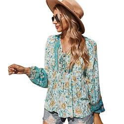 OrientalPort Tunic Blouses Women's V-Neck Long Sleeve Casual Top Boho Floral Print Shirts Loose Summer Shirt Blouse Tops Blau L von OrientalPort