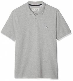 ORIGINAL PENGUIN Herren Raised Ribbed Poloshirt, Grau (Rain Heather 080), Small von ORIGINAL PENGUIN