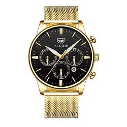 Armbanduhren,Multifunktionale 6-Polige wasserdichte Quarzuhr Herren Business Luminous Watch, Mesh Belt Full Gold Black Oberfläche von Ourui