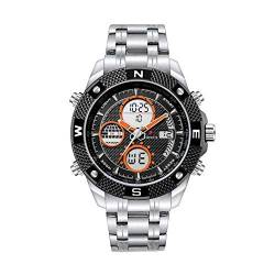 Smartwatches,Dual Movement 2 Time Dual Display Elektronische Uhr Fashion Luminous Waterproof Chronograph Watch, Orange von Ourui