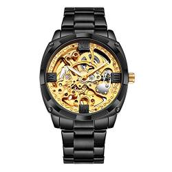 Smartwatches,Fashion Business Hollow Through Bottom Mechanische Uhr Trendy Herrenuhr, Gold Face Black Steel Band von Ourui