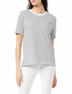 PIECES Damen PCRIA SS FOLD UP Tee NOOS T-Shirt Mehrfarbig (Bright White Stripes: Maritime Blue) 36 (Herstellergröße: S) von PIECES
