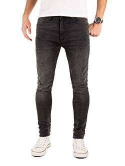 PITTMAN Herren Jeans M458 Look Slim fit - Graue Skinny Männer Stretch Jeanshose Denim, Grau (Asphalt 190201), W34/L32 von PITTMAN