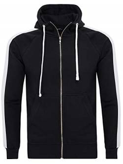 PITTMAN Herren Sweatjacke Retro Zip-Hoodie Streifen, Black/White (1601), 3XL von PITTMAN