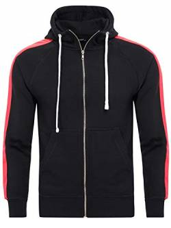 PITTMAN Herren Sweatjacke Retro Zip-Hoodie Streifen, Black/red (1602), XXL von PITTMAN