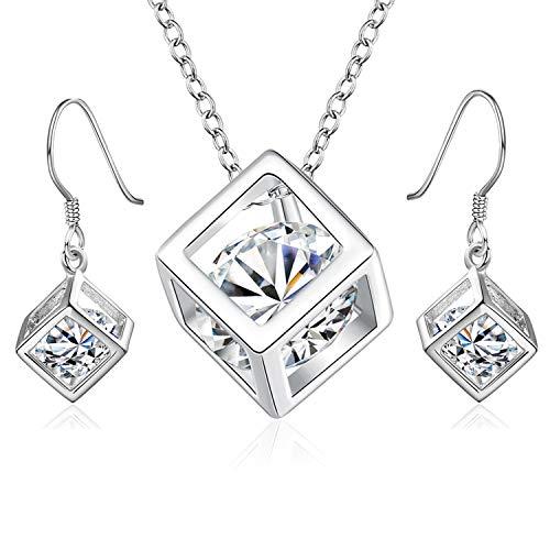 PPX Brautschmuck Wedding Bridal Hochzeit Set Schmuckset Kette Collier Necklace Armband Bracelet Ohrringe Perlen Wei/ß Kristall klar Transparent Silber