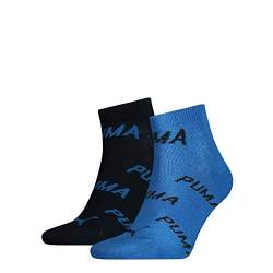 PUMA Unisex-Adult BWT Quarter (2 Pack) Socks, Navy/Grey/Strong Blue, 43/46 von PUMA