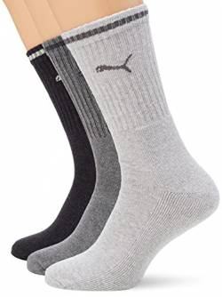 PUMA Unisex-Adult Sport Crew Stripe (3 Pack) Socks, Anthracite/Grey, 39/42 von PUMA