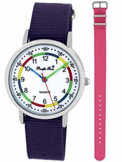 Pacific Time Kinder Lernuhr Analog Quarz mit 2 Textilarmband 10012 Violett Rosa von Pacific Time