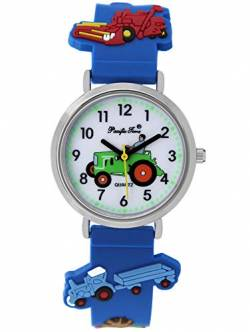 Pacific Time Jungen Uhr Traktor Trecker Bauernhof Glow in The Dark analog Quarz mit Silikonarmband blau 86833 von Pacific Time