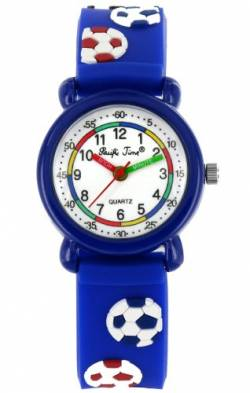 Pacific Time Kinder-Armbanduhr Fußball Analog Quarz blau 20273 von Pacific Time
