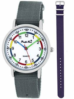 Pacific Time Kinder Lernuhr Analog Quarz mit 2 Textilarmband 10010 Violett Grau von Pacific Time