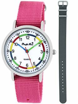 Pacific Time Kinder Lernuhr Analog Quarz mit 2 Textilarmband 10015 Rosa Grau von Pacific Time