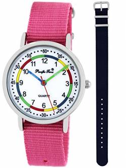 Pacific Time Kinder Lernuhr Analog Quarz mit 2 Textilarmband 10016 Rosa Blau von Pacific Time